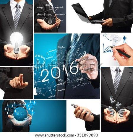 2016 new year business success concept, With creative thinking drawing charts and graphs strategy plan ideas inspiration modern template layout background for design work - stock photo
