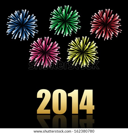 2014 new year celebration with colorful fireworks. Vector available.