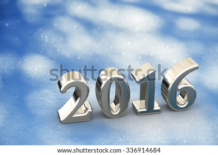 2016 New Year Christmas Text On The Snow Background - stock photo