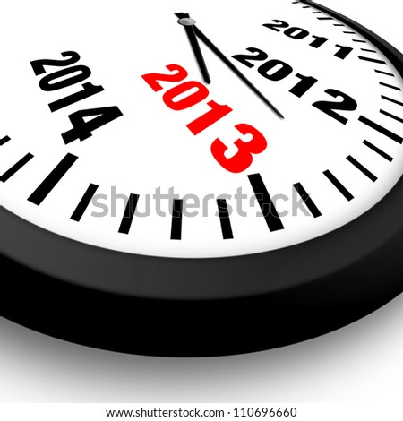 2013 New Year clock - stock photo