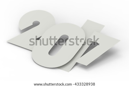 2017 New Year concept. 3D illustration - stock photo