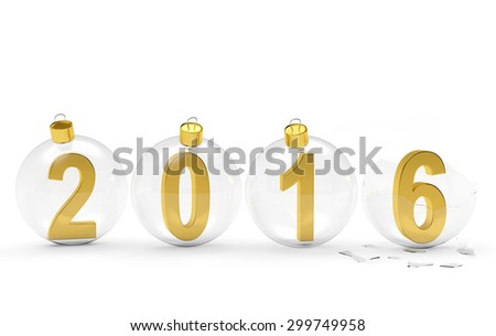 2016 New Year concept. Digits of the year in glass Christmas balls with one broken isolated on white background   - stock photo