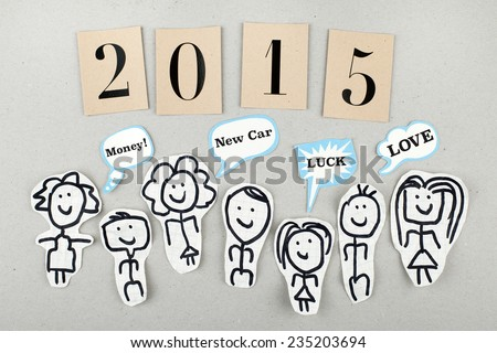2015 New Year Concept / Expectations of People / Wishing Money Luck Love from new year - stock photo