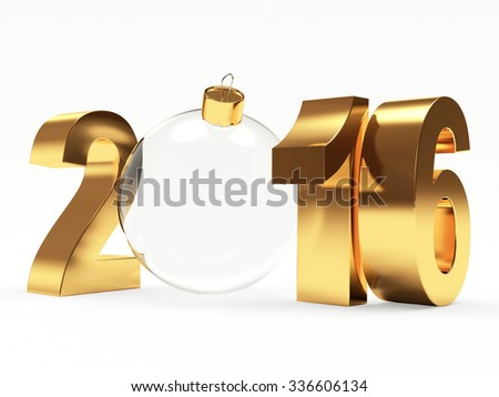 2016 New Year concept. Golden 2016 year and transparent christmas ball isolated on white background - stock photo