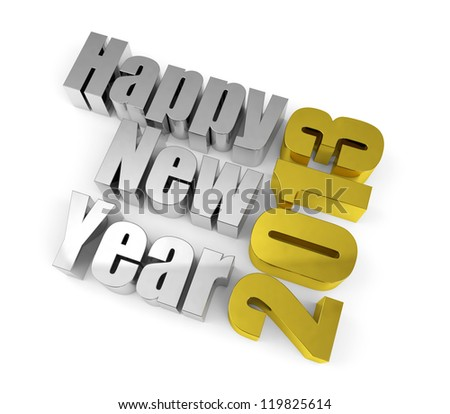 2013 New year concept. Metal text isolated on white. - stock photo