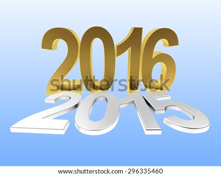 2016 New Year concept. Silver 2015 changed to golden 2016 on blue background