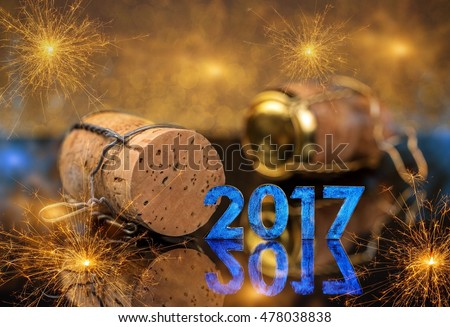 2017 New Year concept with champagne cork