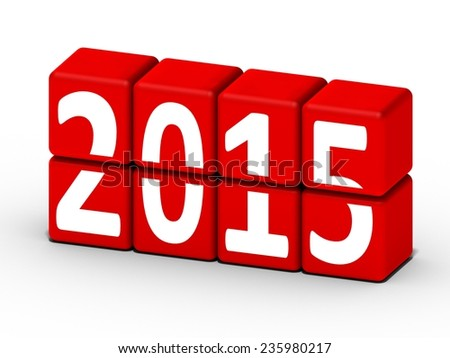 2015 new year concept with red cubes