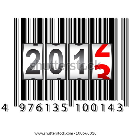 2013 New Year counter, barcode,. - stock photo