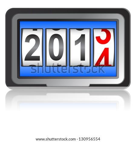2014 New Year counter,  illustration. - stock photo