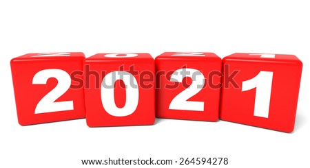 2021 New Year cubes. 3D illustration.