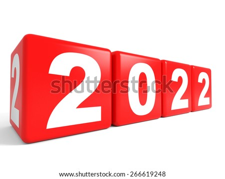 2022 New Year cubes. 3D illustration.