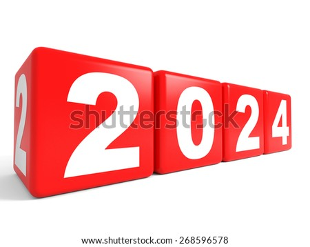 2024 New Year cubes. 3D illustration.