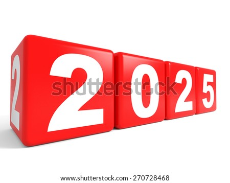 2025 New Year cubes. 3D illustration.