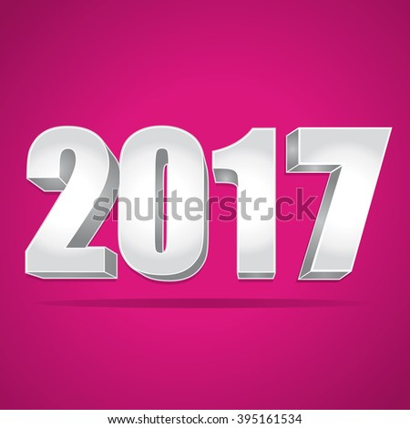 2017 New Year 3d silver numbers on a pink background. - stock photo