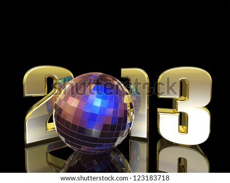2013 New Year Disco Ball with reflections. Happy New Year. - stock photo