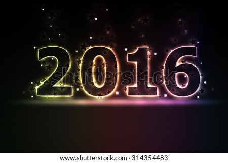 2016 New year glowing and light colorful background