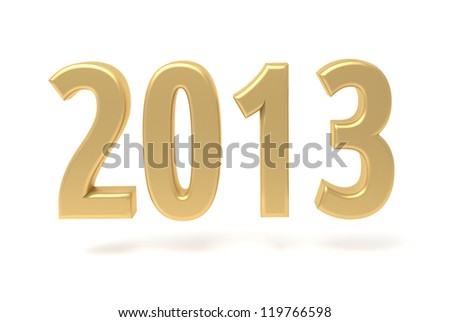 2013 New Year gold sign isolated on white - stock photo