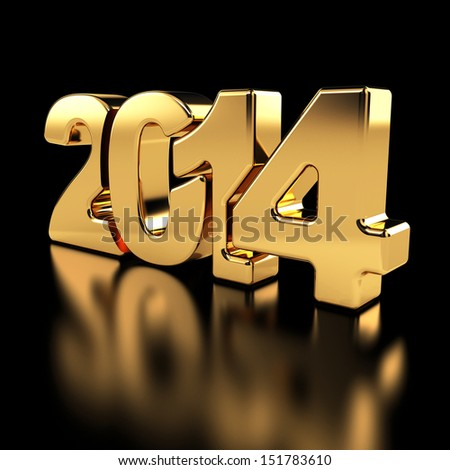2014 New Year golden number on the black background.  - stock photo