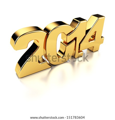 2014 New Year golden number on the white background.
