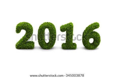 2016 new year grassed concept isolated on white background - stock photo