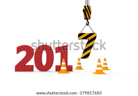 2017 new year in progress isolated on a white background