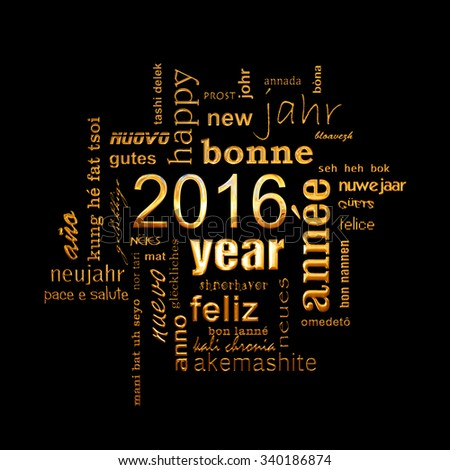 2016 new year multilingual golden text word cloud square greeting card on black background