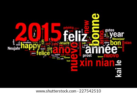 2015 new year multilingual text greeting card on black background