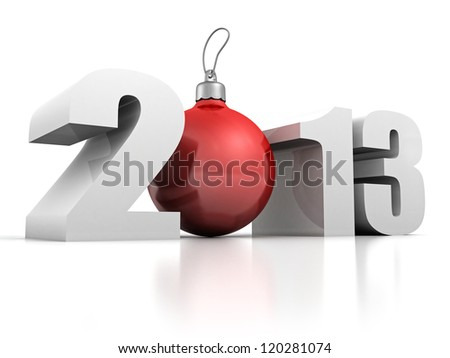 2013 new year numbers with red christmas fur-tree ball - stock photo