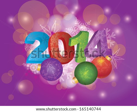2014 New Year Numbers with Snowflakes Pattern and Christmas Ornaments on Bokeh Background Raster Illustration