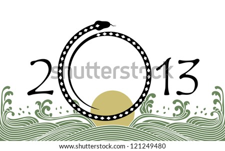 2013 new year of water black snake from chinese lunar calendar. - stock photo