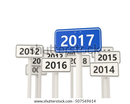 2017 New year on blue road sign. 3D illustration
