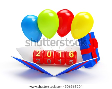 2016 New Year on red cubes with colorful balloons in gift box isolated on white background - stock photo