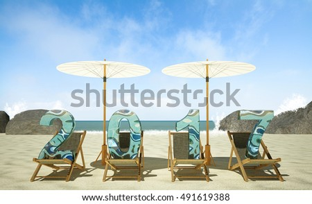 2017 New Year on the beach, 3D rendering image
