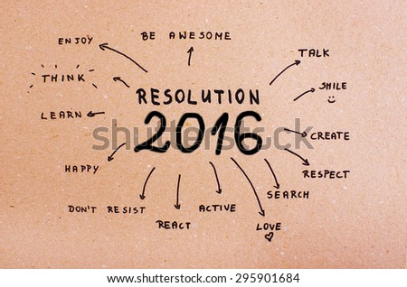 New Year Resolution 2016 Goals written on cardboard - stock photo