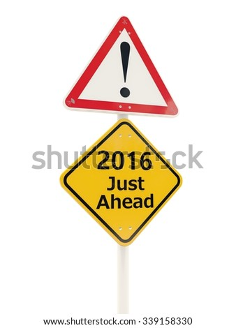 2016 New Year road sign isolated on white