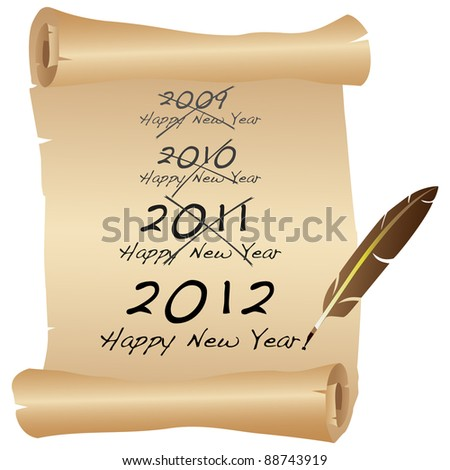 2012 New Year scroll icon. - stock photo