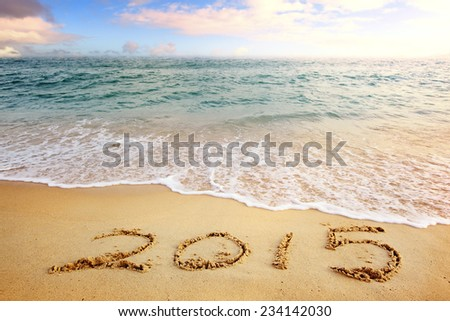 2015 new year sea beach sunset - stock photo
