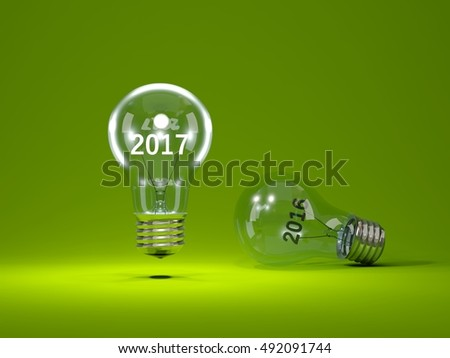 2017 New Year sign inside light bulbs. 3D illustration