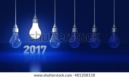 2017 New Year sign inside light bulbs. 3D rendering