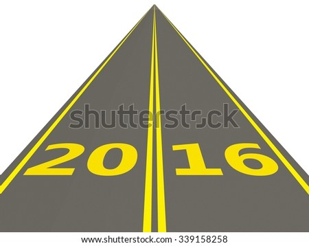 2016 New Year sign on the road isolated on white - stock photo
