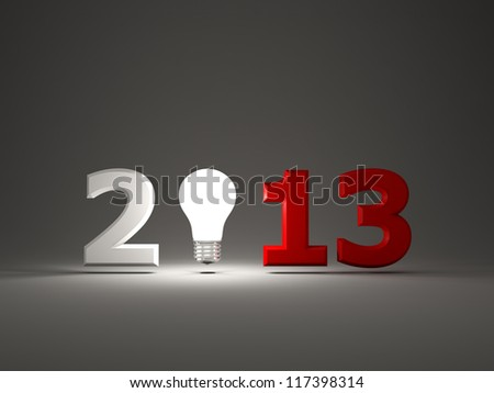 2013 New Year sign with light bulb - stock photo