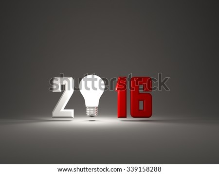 2016 New Year sign with light bulb on grey background - stock photo