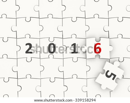 2016 New year symbol on puzzle