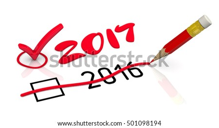 2017 New Year. The number 2016 is corrected for 2017 using the red pencil. The concept of changing the year. Isolated. 3D Illustration