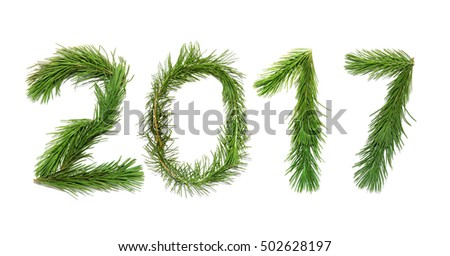 2017 New Year (Two thousand seventeen). Numbers are made of a pine tree branches isolated on a white background