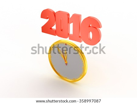 2016 new year with clock