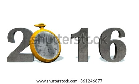 2016 new year with pocket watch - isolated on white