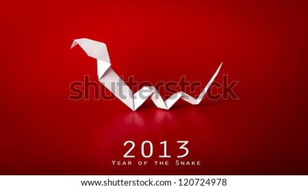 2013 New Year with true paper snake - stock photo