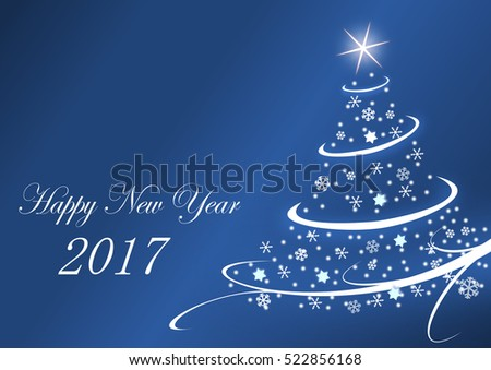 2017 new years illustration with christmas tree on blue background